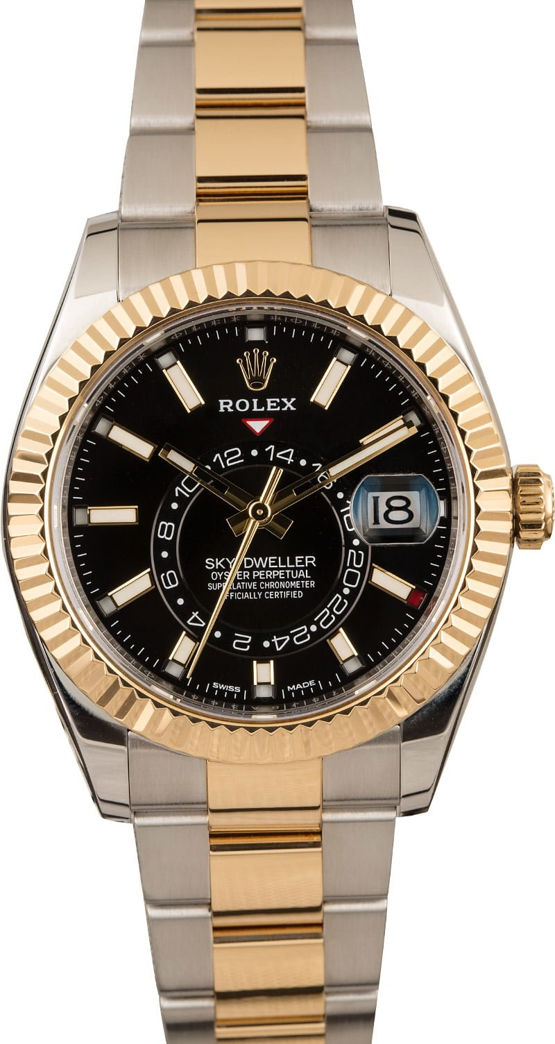 Pre,owned Rolex Sky,Dweller 326933 Black Dial Two Tone