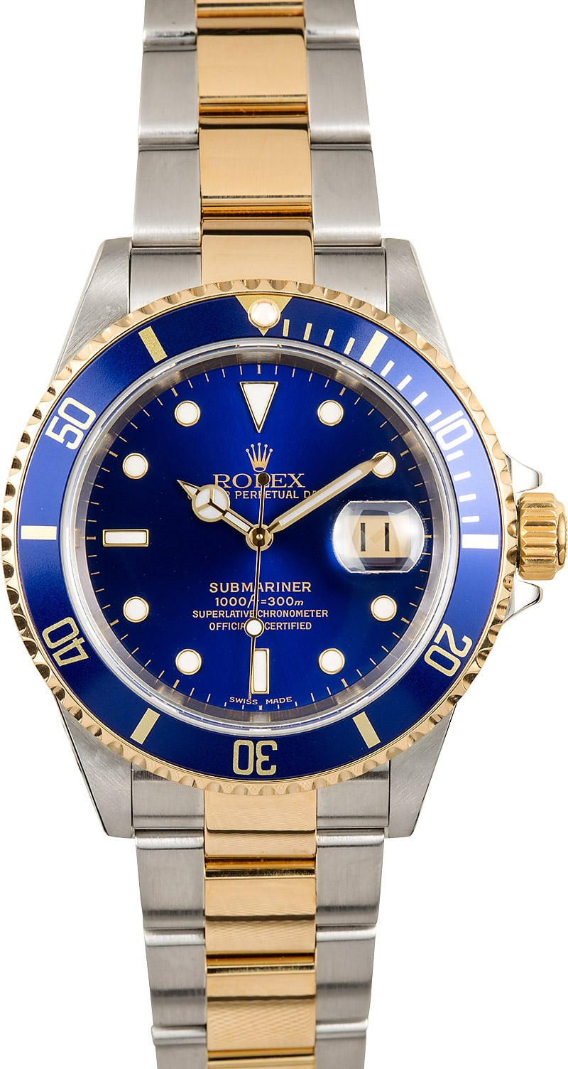 Rolex steel and gold blue submariner 16613 for Submariner rolex blue
