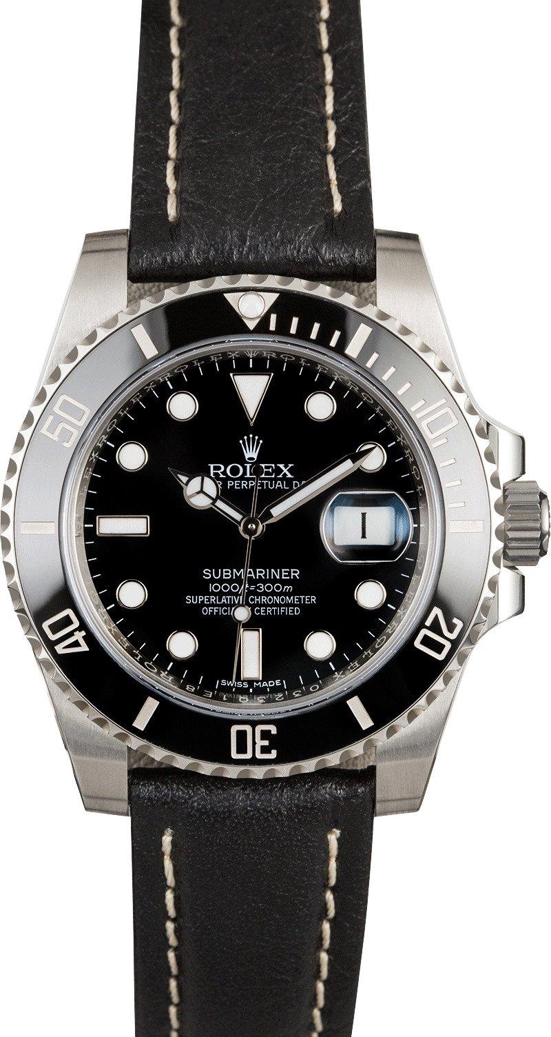 Rolex submariner 116610 black leather strap for Black leather strap