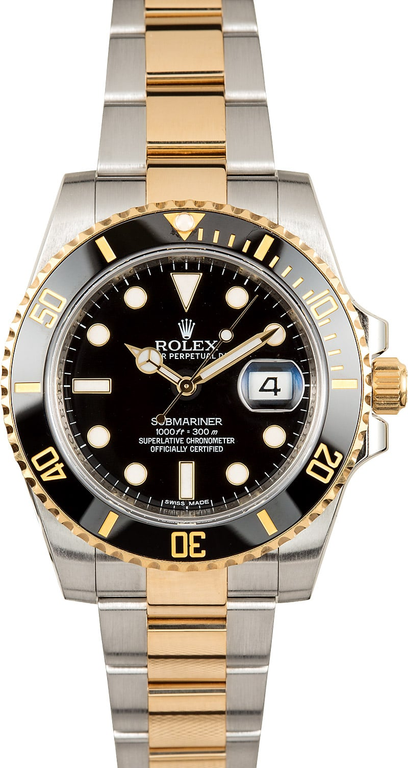 mens rolex ceramic submariner 116613 two tone x. Black Bedroom Furniture Sets. Home Design Ideas