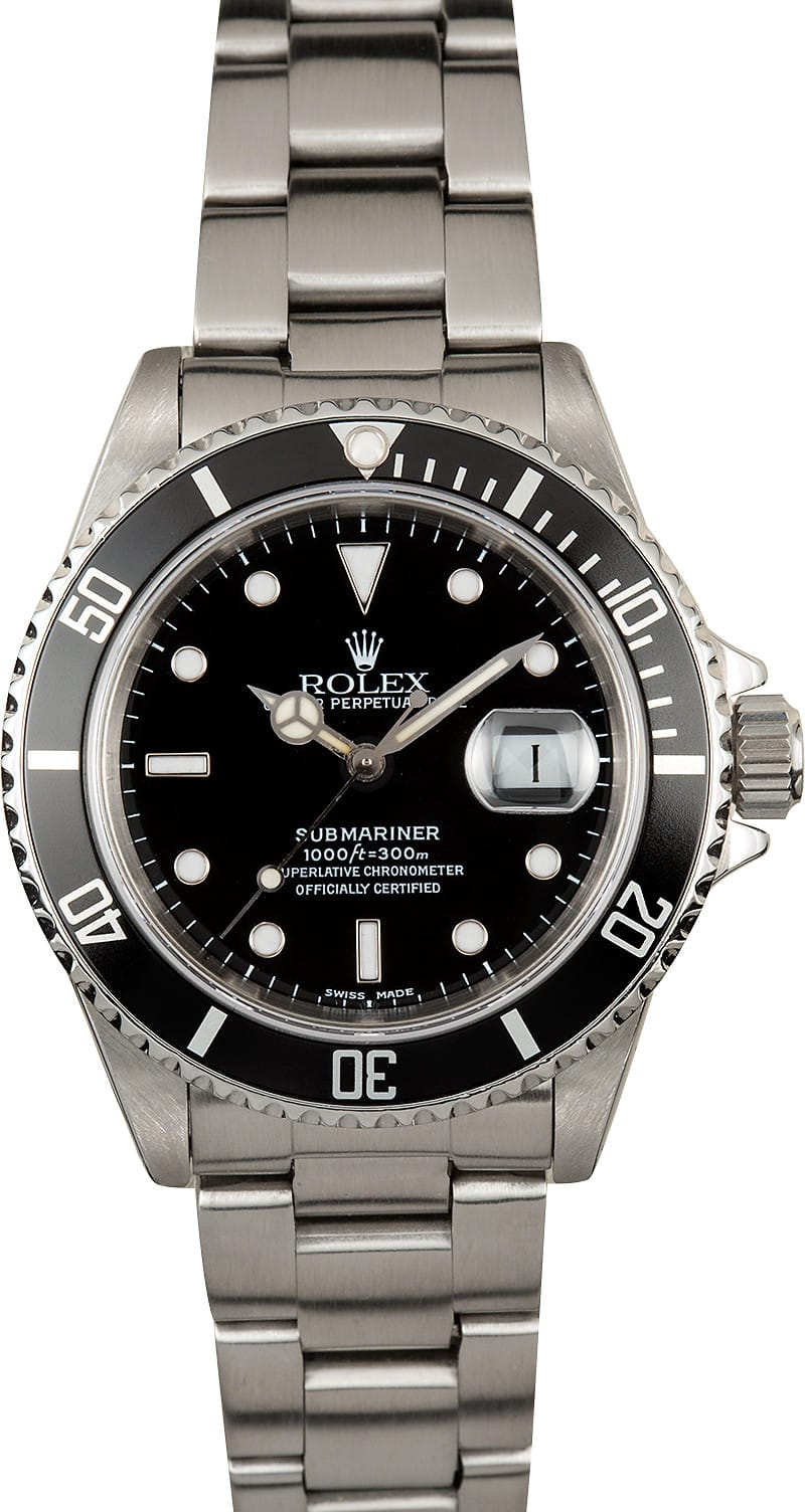 Rolex submariner 16610 black dial watch for Submarine watches