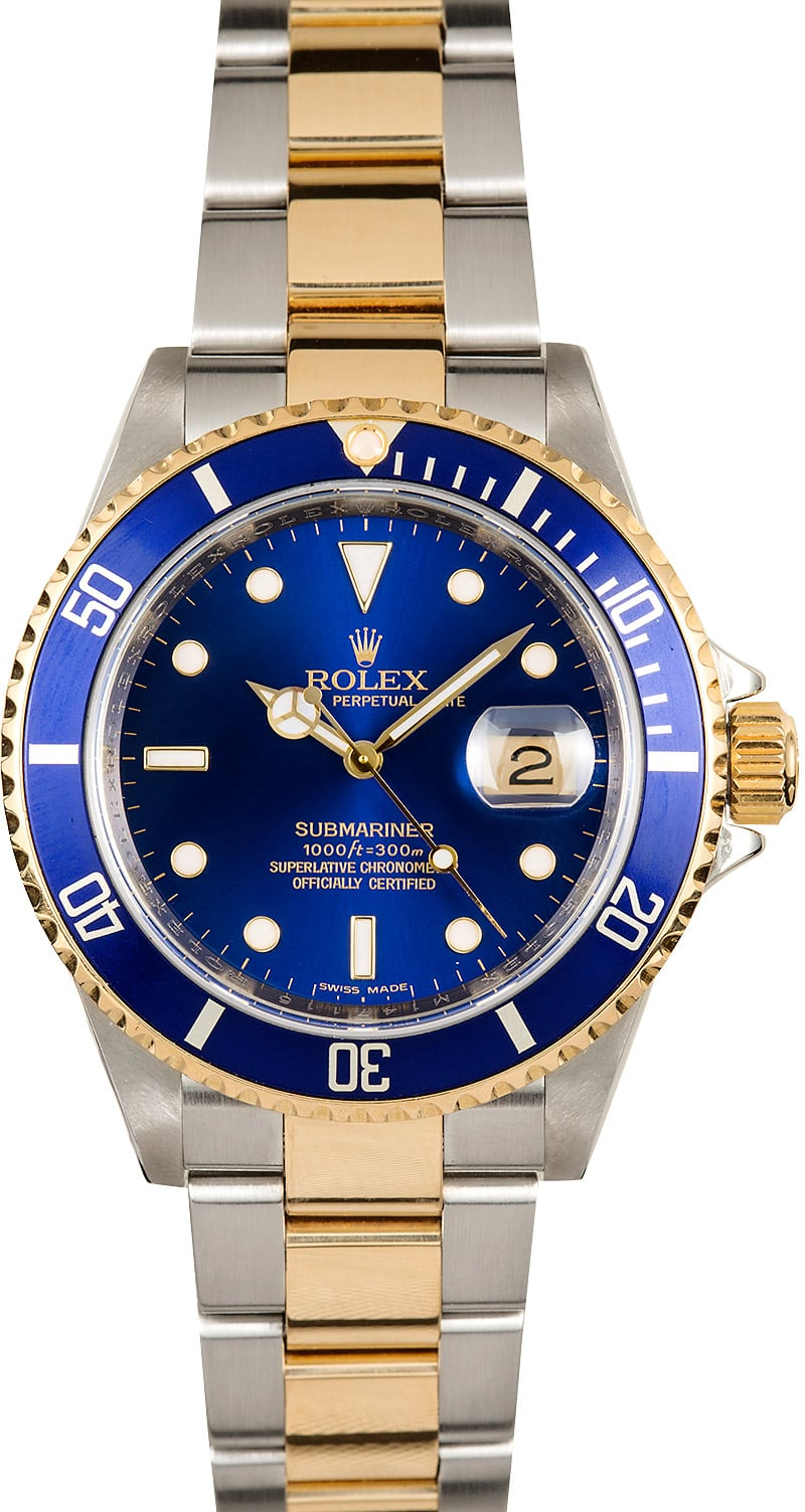 Certified Pre Owned >> Rolex Submariner 16613 Blue Dial Steel & Gold Bezel - On Sale