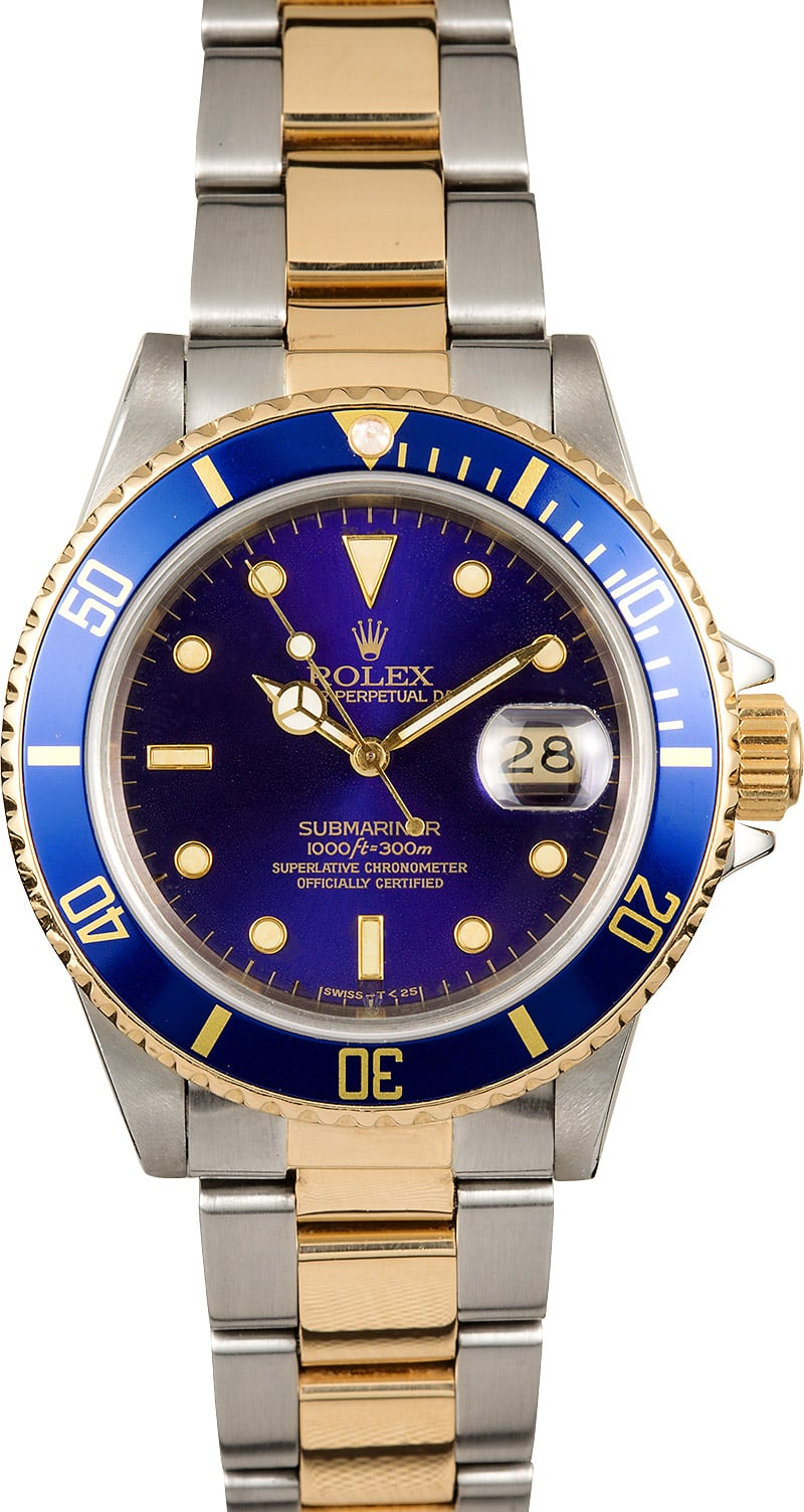 Two tone rolex submariner 16803 blue bezel for Submariner rolex blue