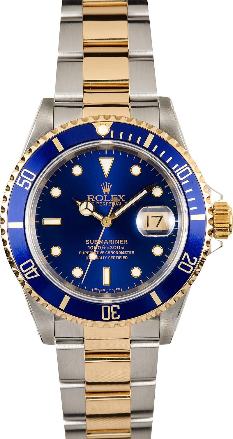 Rolex Submariner Blue Bezel 16613 100% Authentic