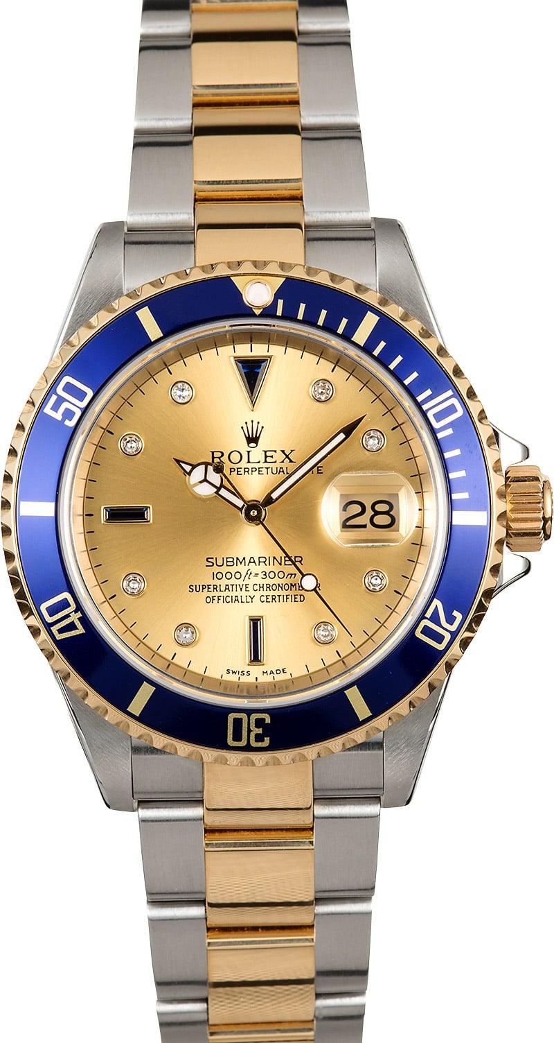 Rolex Submariner Blue Bezel 16613 Serti