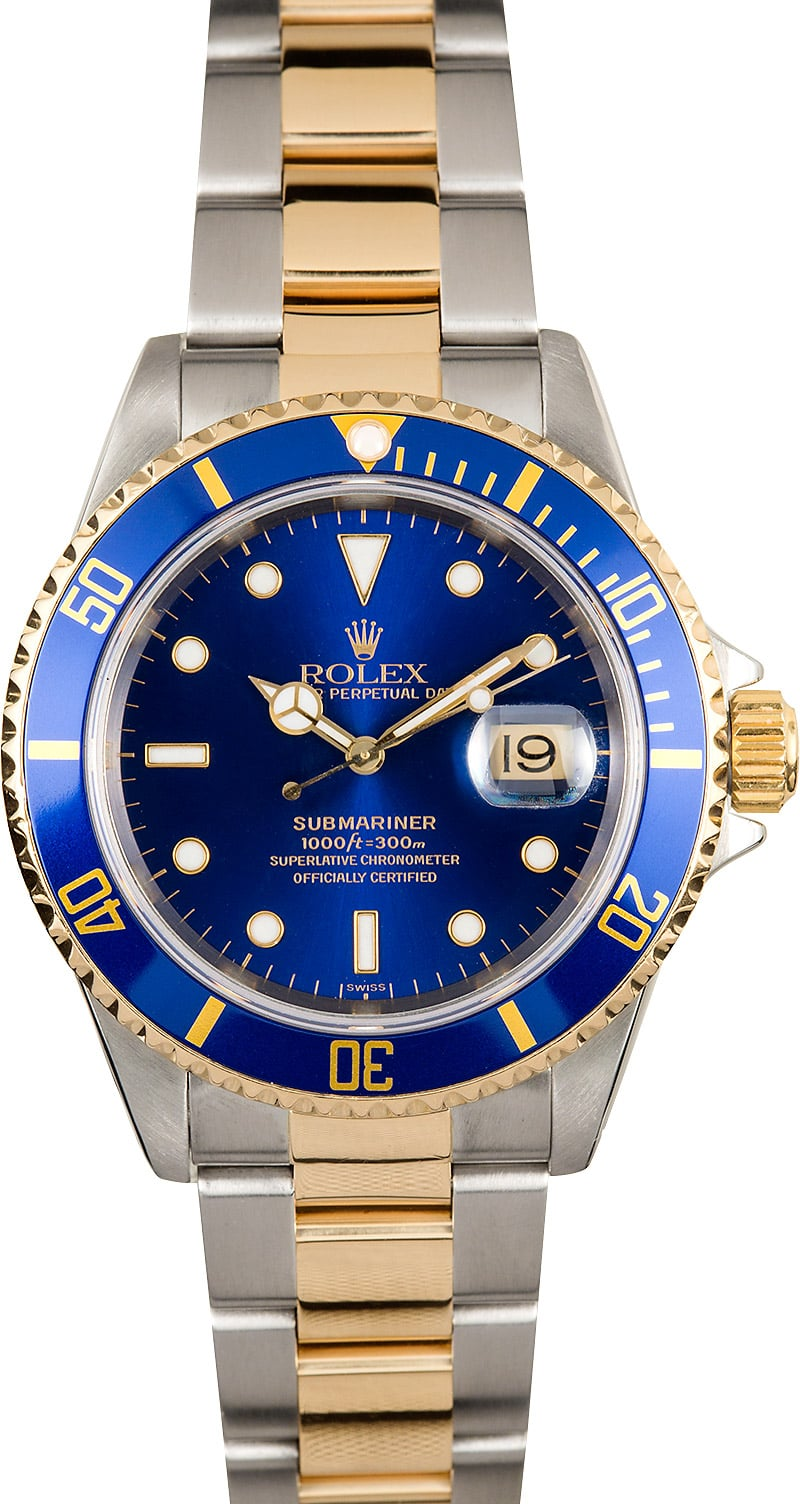 Rolex submariner blue dial 16613 two tone for Submariner rolex blue
