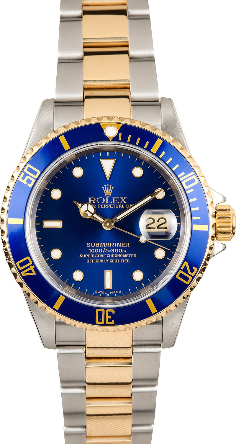 submariner rolex blue dial 16613 two tone. Black Bedroom Furniture Sets. Home Design Ideas