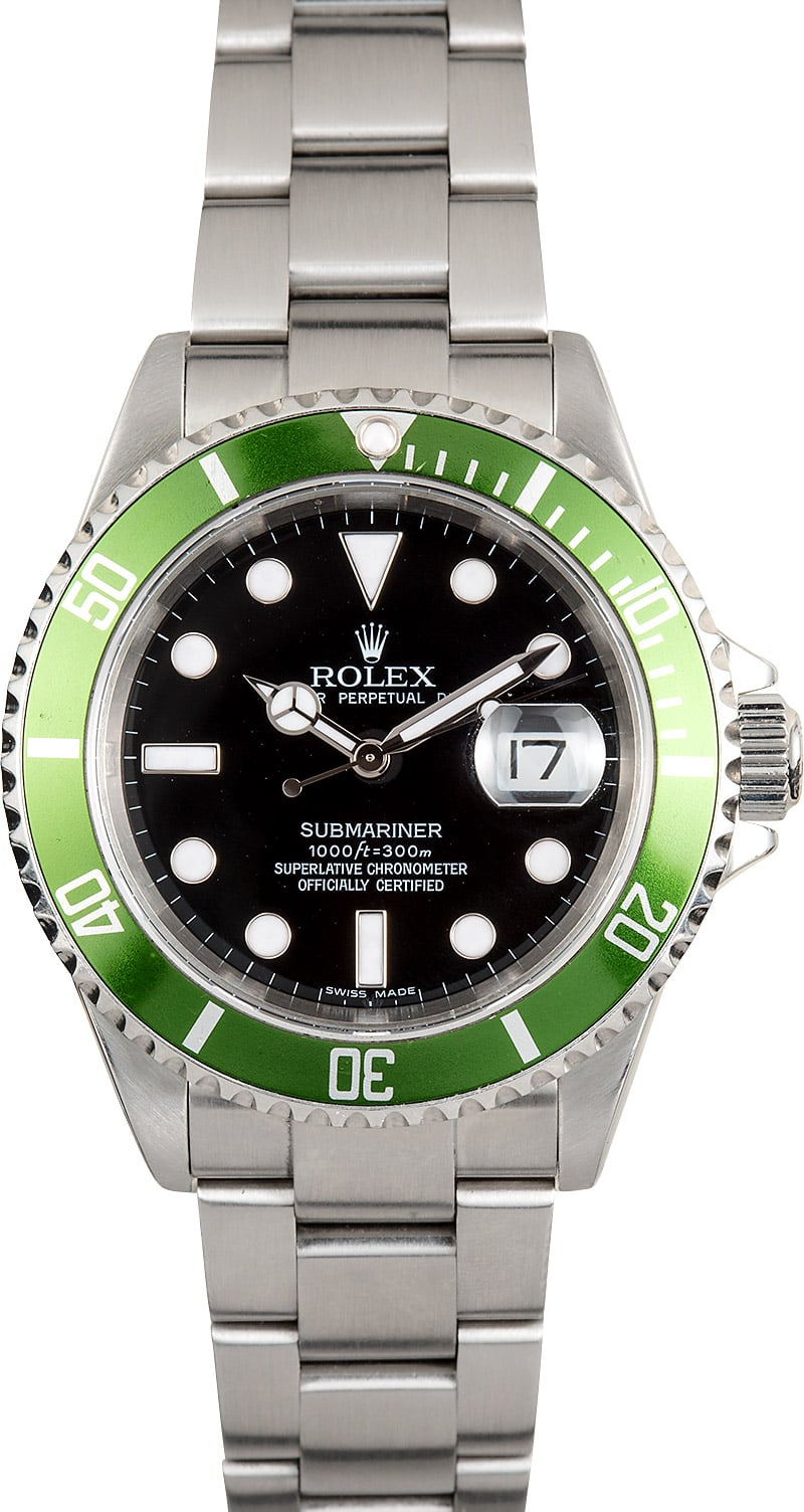 Certified Pre Owned >> Rolex Submariner Green and Black Anniversary 16610V