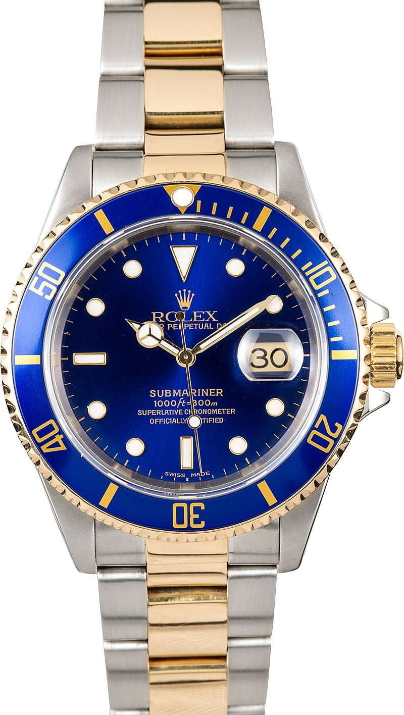 Rolex submariner two tone blue face 16613 for Submariner rolex blue