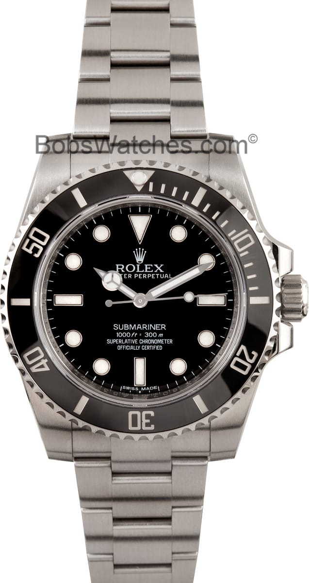 rolex submariner no date 114060 100 authentic watch at bobs. Black Bedroom Furniture Sets. Home Design Ideas