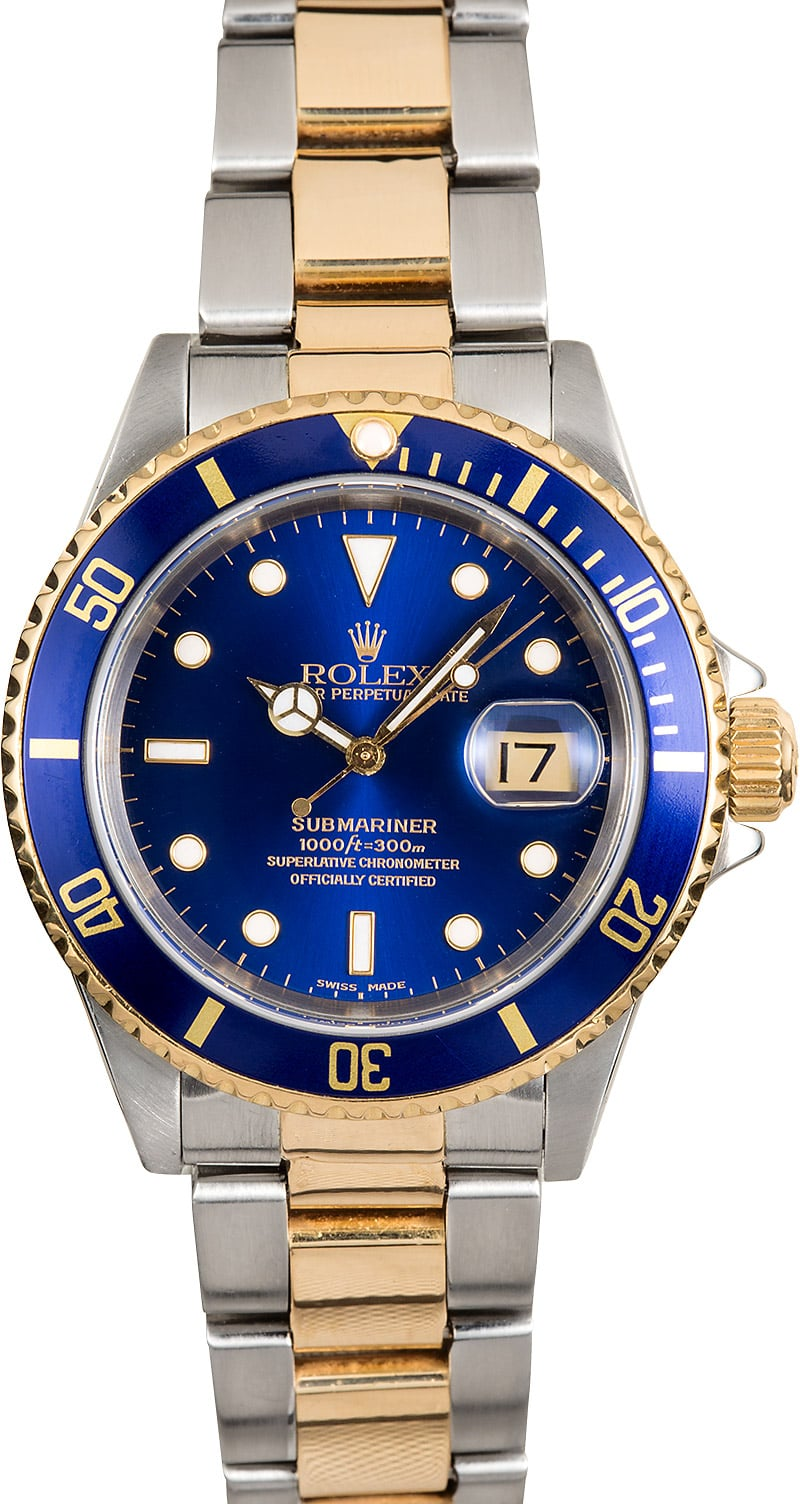 Rolex two tone submariner blue 16613 for Submariner rolex blue