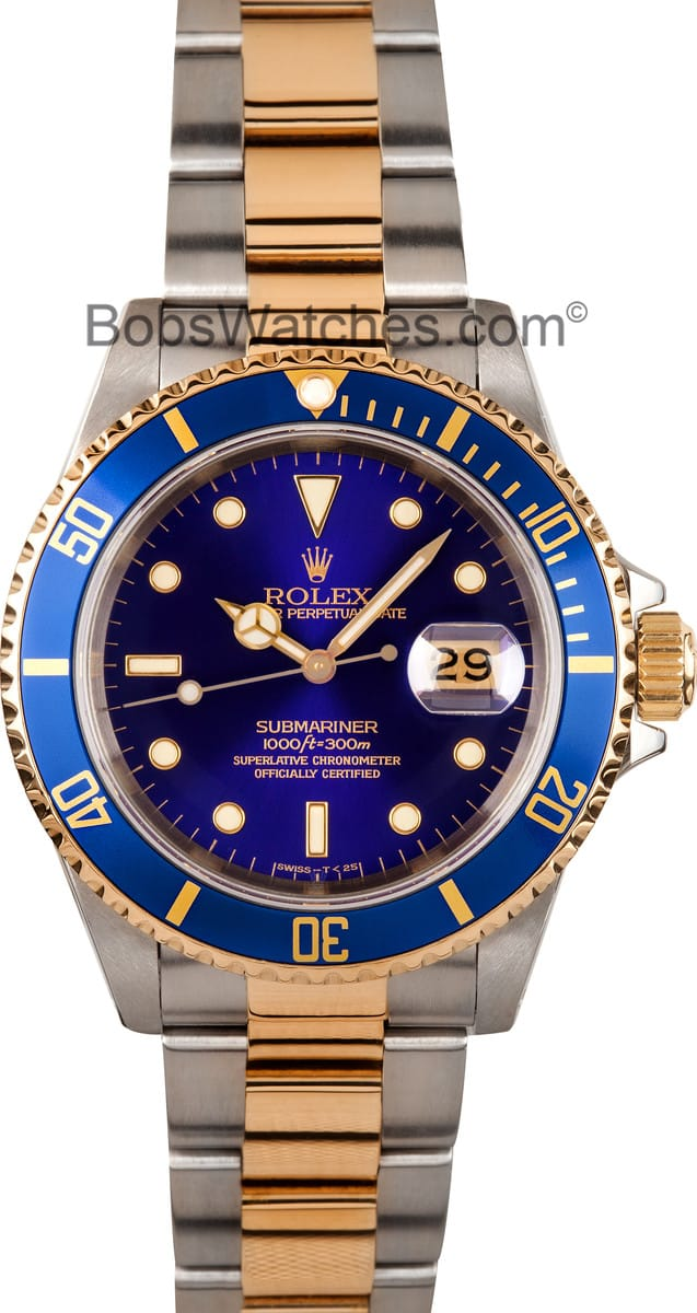 Rolex submariner blue dial 16613 18kt gold for Submariner rolex blue