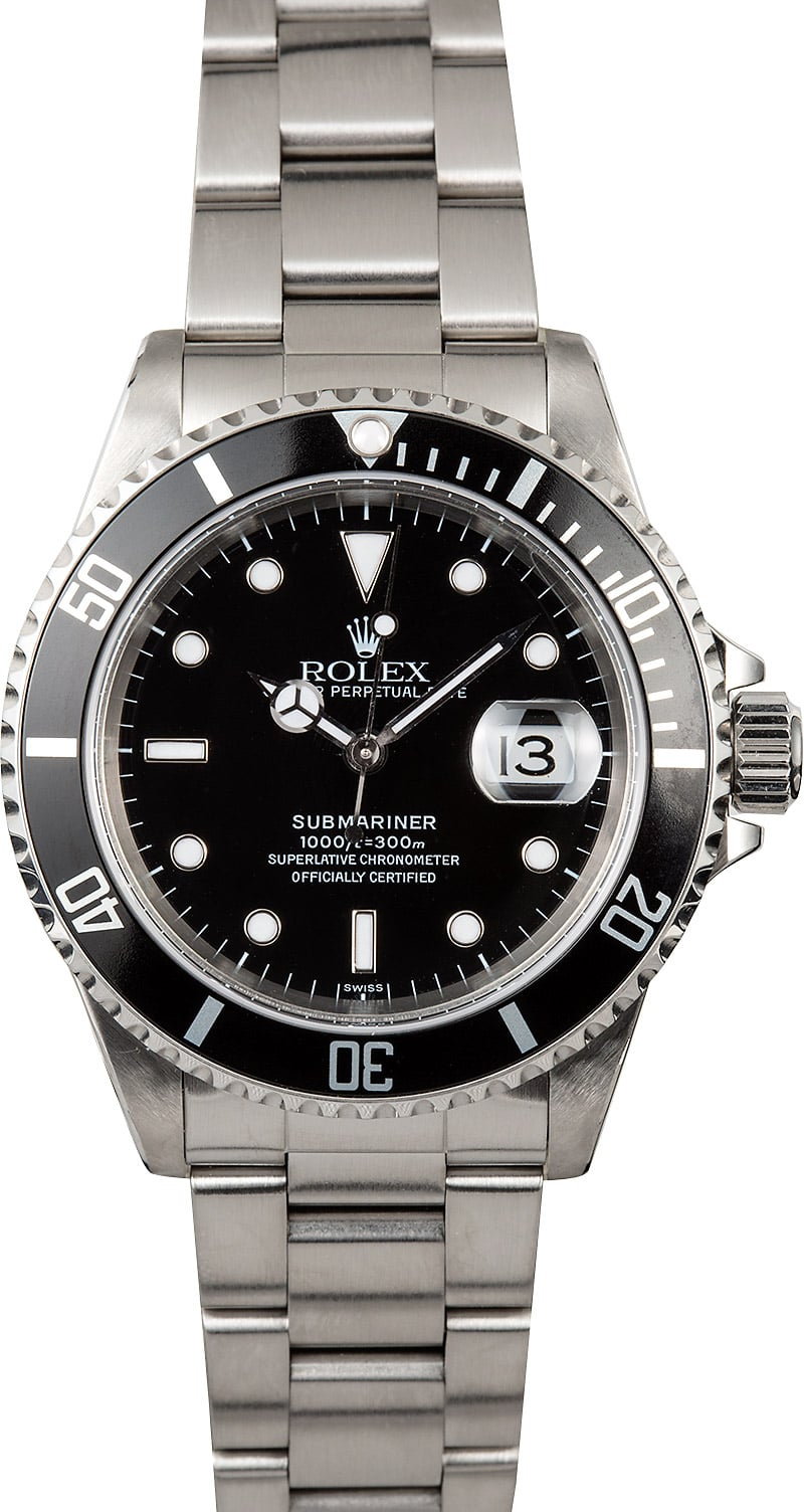 Submariner rolex 16610 black dive watch for Submarine watches