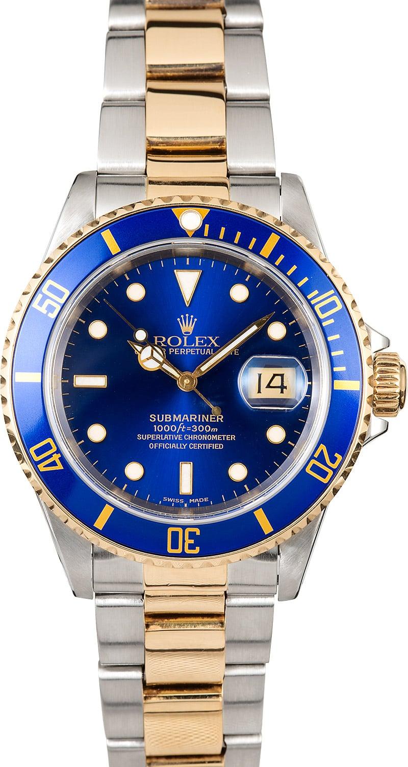 Submariner Rolex Blue 16613 Steel & Gold