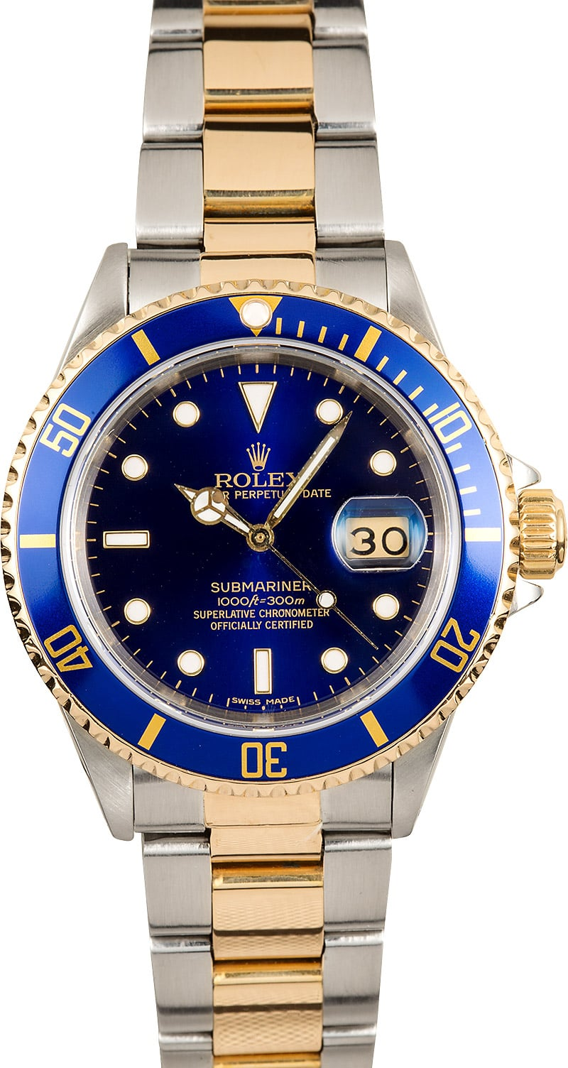Two tone rolex submariner 16613 blue bezel for Submariner rolex blue
