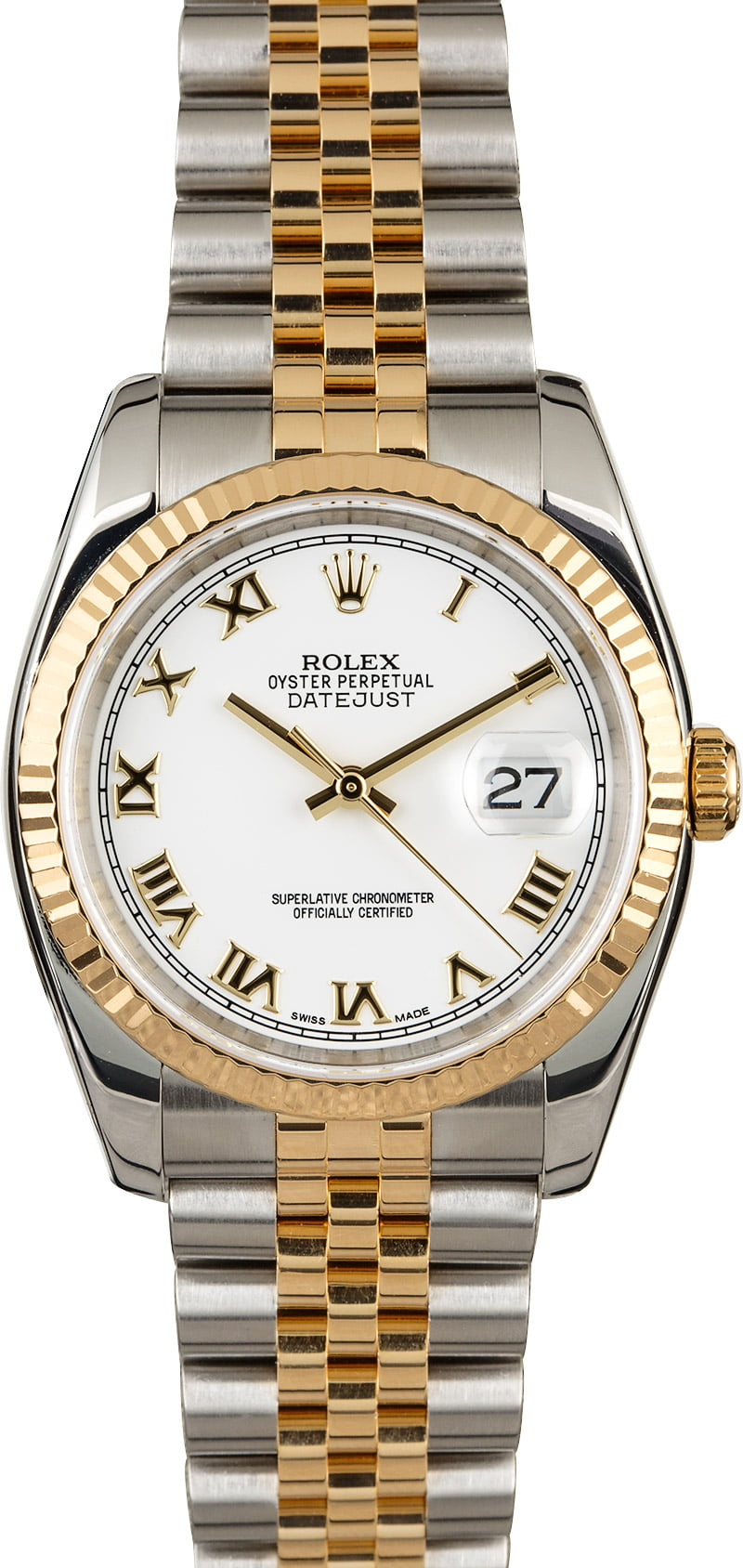 Rolex DateJust 116233 Two Tone Jubilee White Roman Dial