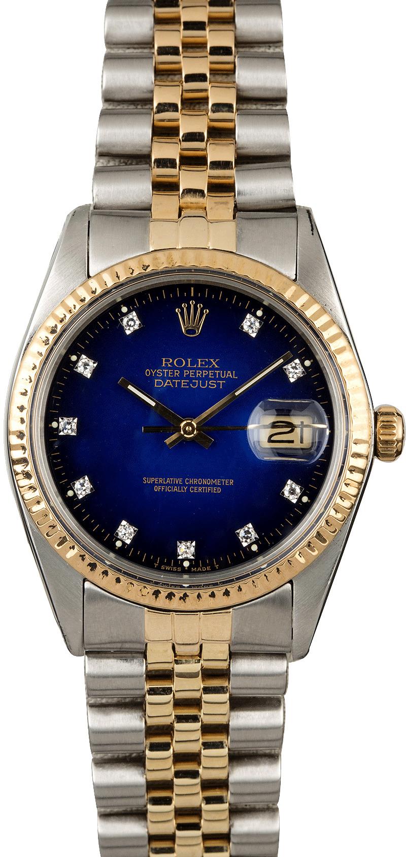 04b26df4d23 Pre-Owned Rolex Datejust 16013 Blue Vignette Diamond Dial