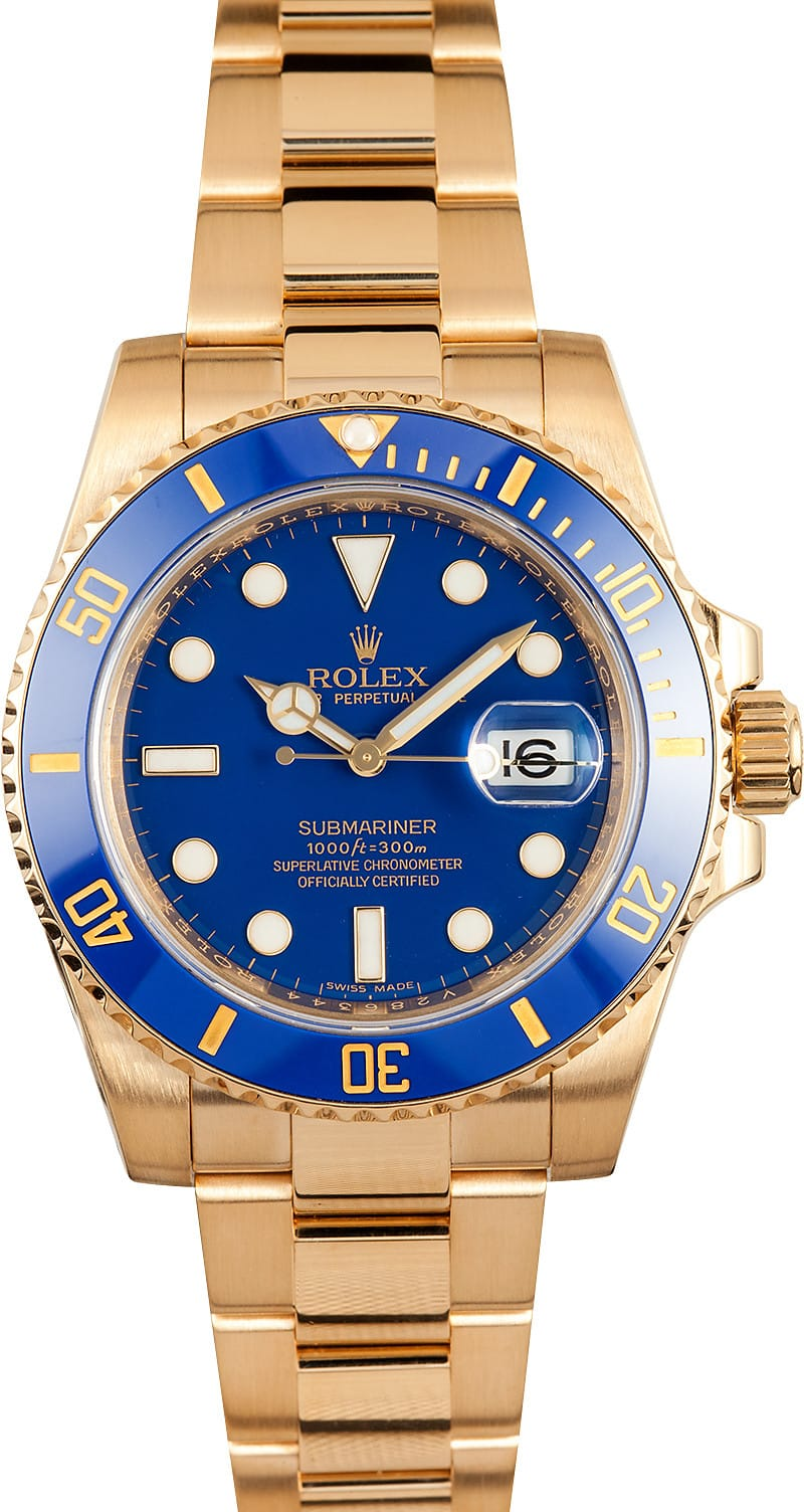 rolex 116618 ref submariner blue dial 18k gold 100 genuine. Black Bedroom Furniture Sets. Home Design Ideas