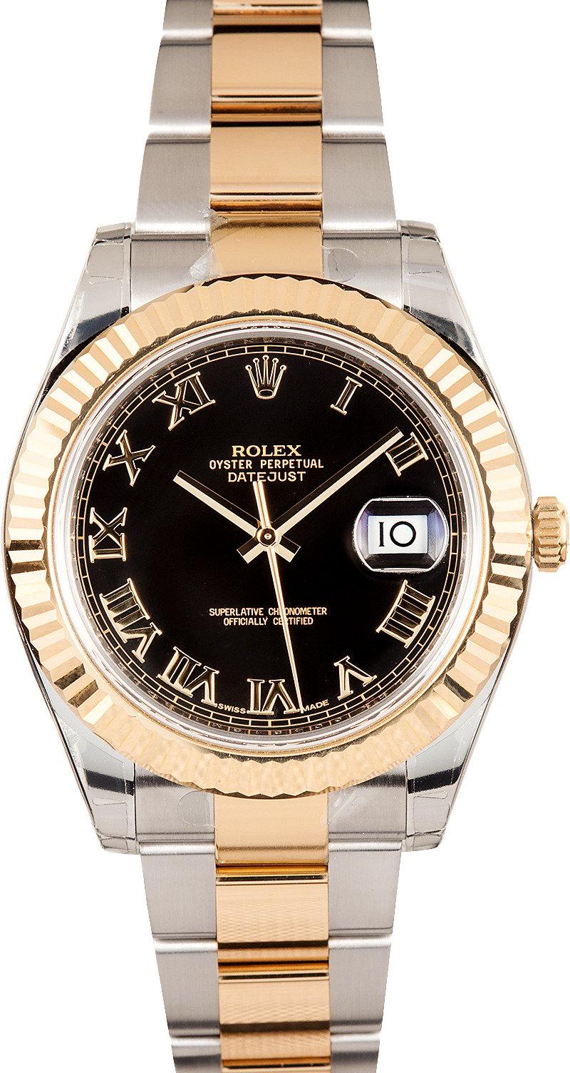 Used Rolex Daytona >> Rolex DateJust II Black Roman Dial 116333 - Best Low Prices