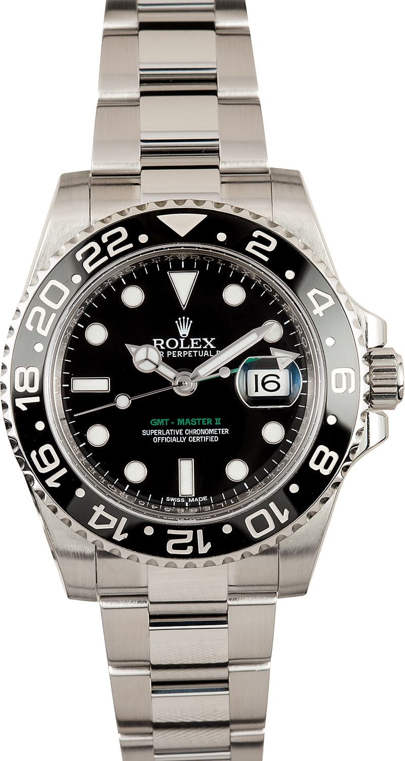 Pre owned rolex gmt master ii 116710 master ii ceramic 116710 at bob 39 s watches 100 authentic for Rolex gmt master