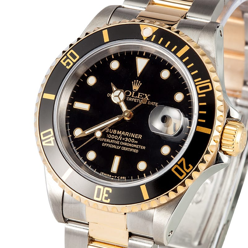 Rolex Submariner Steel & Gold Black Face 16613 - Bob's Watches