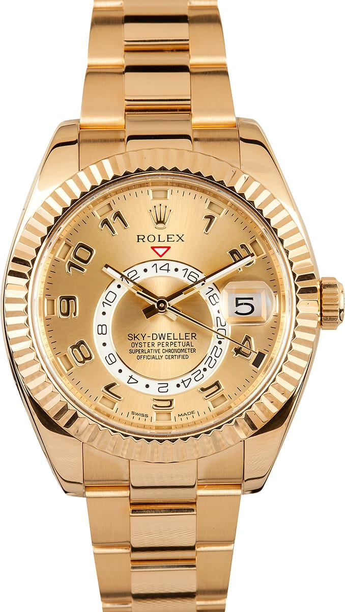rolex skydweller yellow gold best prices at bobs watches