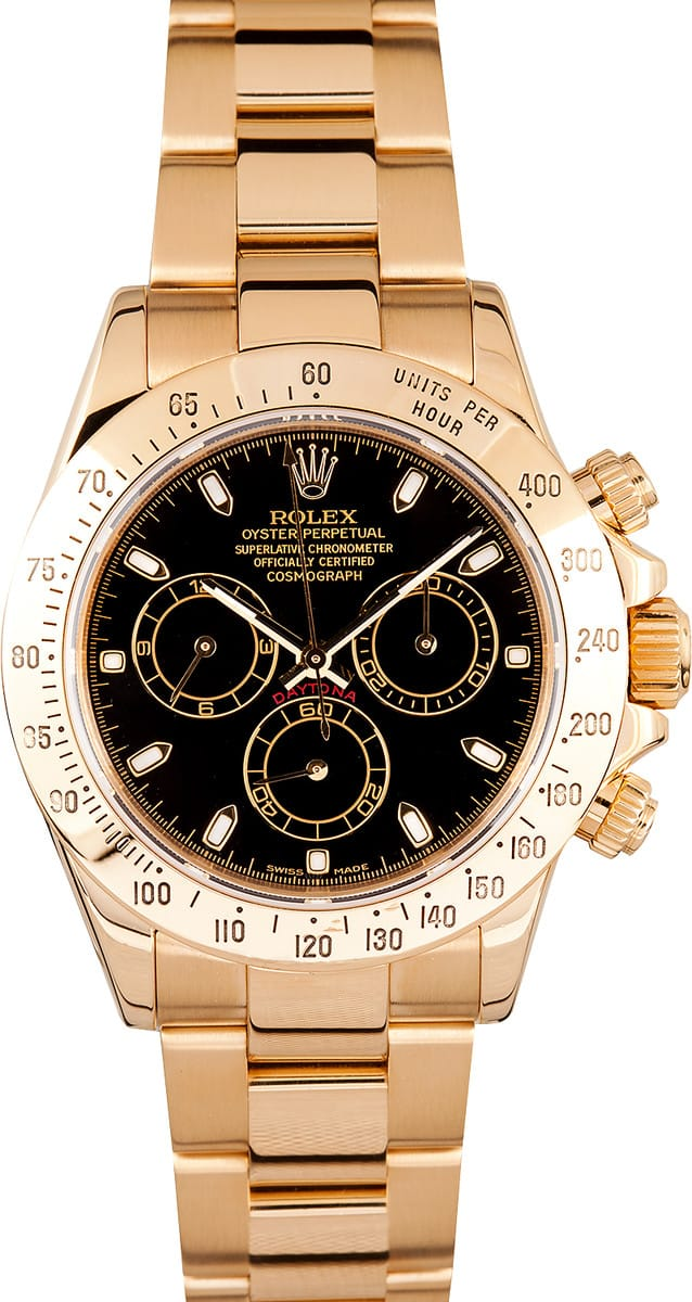 Certified Pre Owned >> Rolex Daytona 18k Yellow Gold Black Dial- Save $1,000's