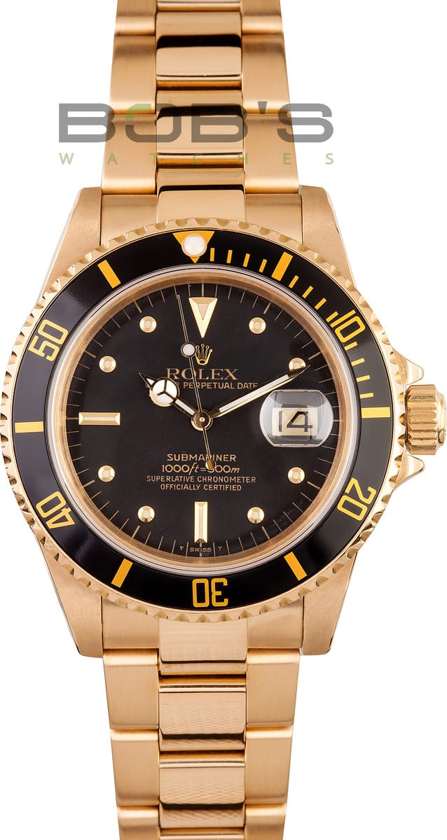Rolex Submariner Date 16808 18k Gold Bob S Watches
