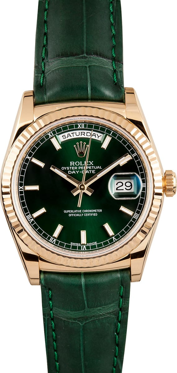 Used Rolex Daytona >> Rolex President Day Date 118138 Green - Bob's Watches