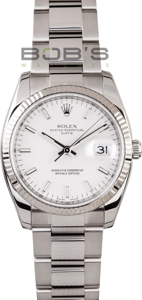 34298475747a Rolex Date Whte Dial White Gold Bezel 115234 Best Prices at Bob s