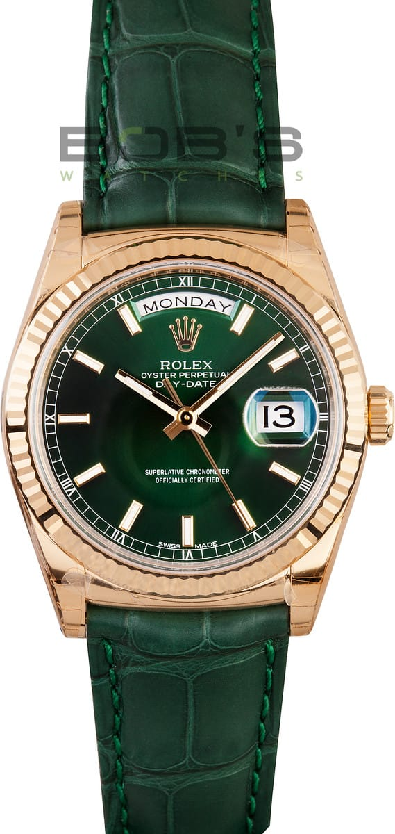 Rolex President Day Date Leather Strap 118138 Bob S Watches
