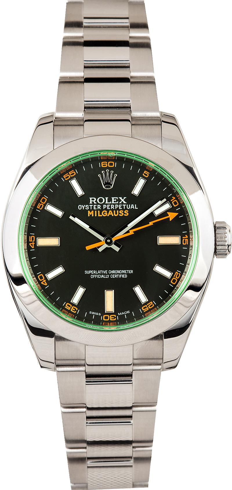 Rolex milgauss 116400gv bob 39 s watches for Rolex milgauss