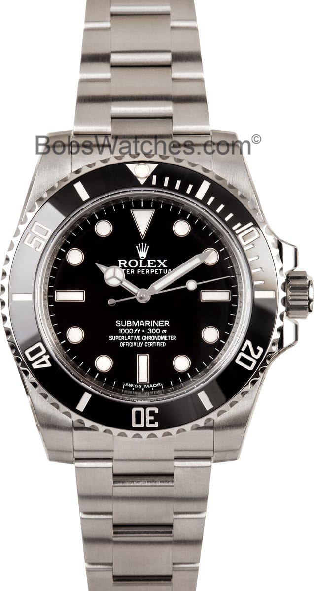 rolex submariner no date 100 authentic rolex at bobs. Black Bedroom Furniture Sets. Home Design Ideas