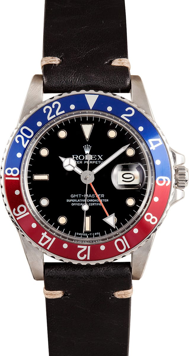 Certified Pre Owned >> Rolex GMT-Master II Pepsi Bezel 16750 - Save At Bob's Watches