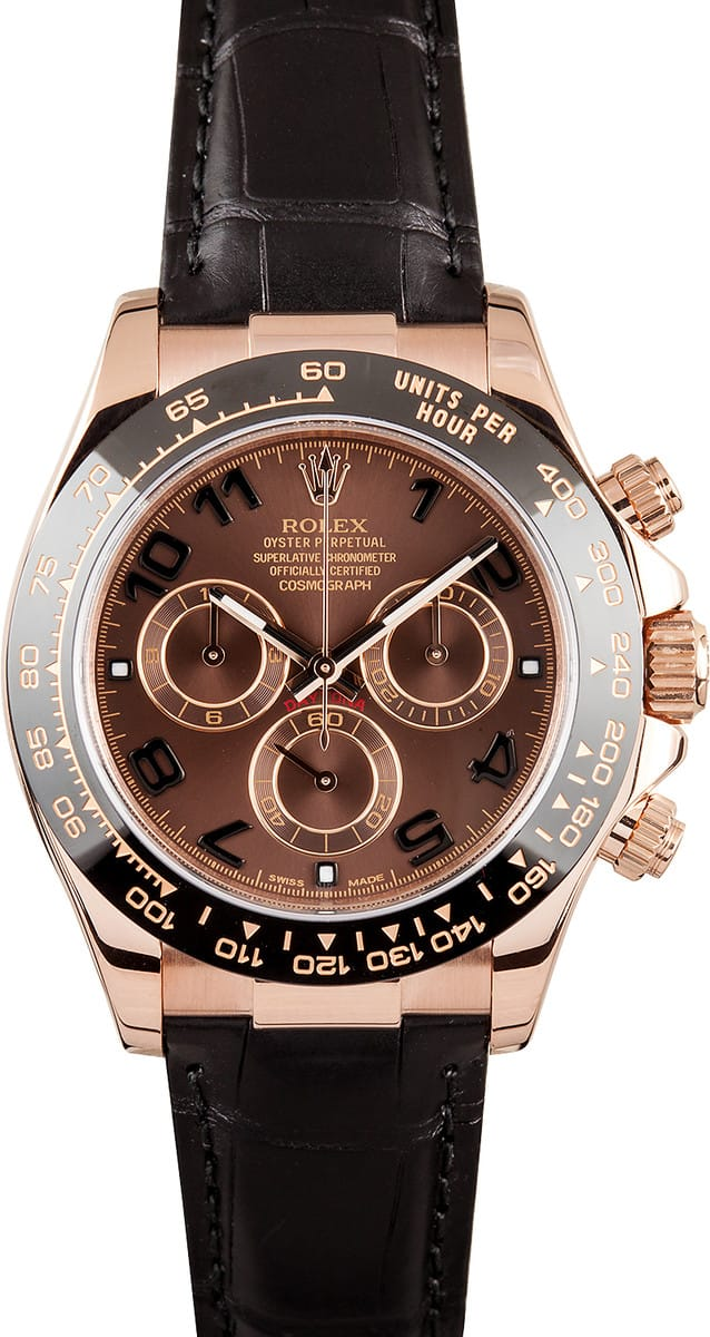 Rolex Daytona Rose Gold Leather Strap Free Overnight Shipping At