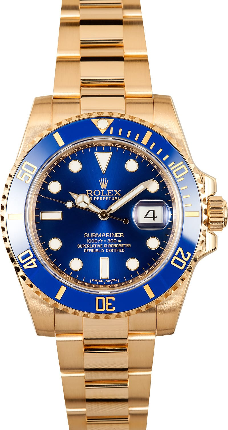 rolex submariner 116618 watch blue dial 18k gold 100 genuine. Black Bedroom Furniture Sets. Home Design Ideas