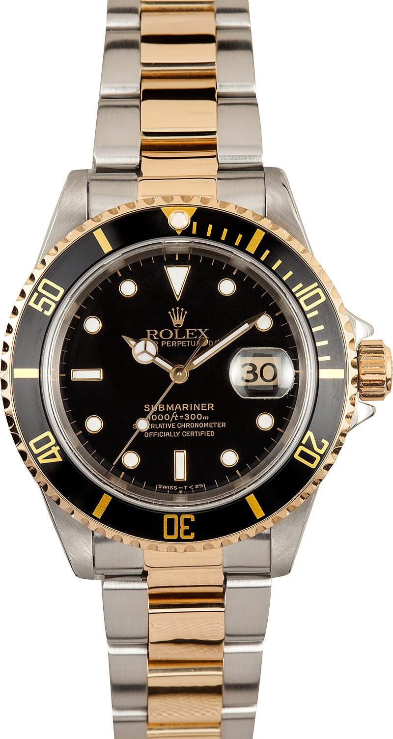 used rolex submariner steel gold black face 16613 save at bob 39 s watches. Black Bedroom Furniture Sets. Home Design Ideas