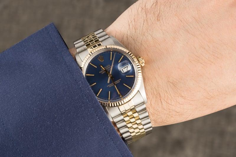 2599c8a23af Rolex Datejust 16013 Blue Dial 100% Authentic