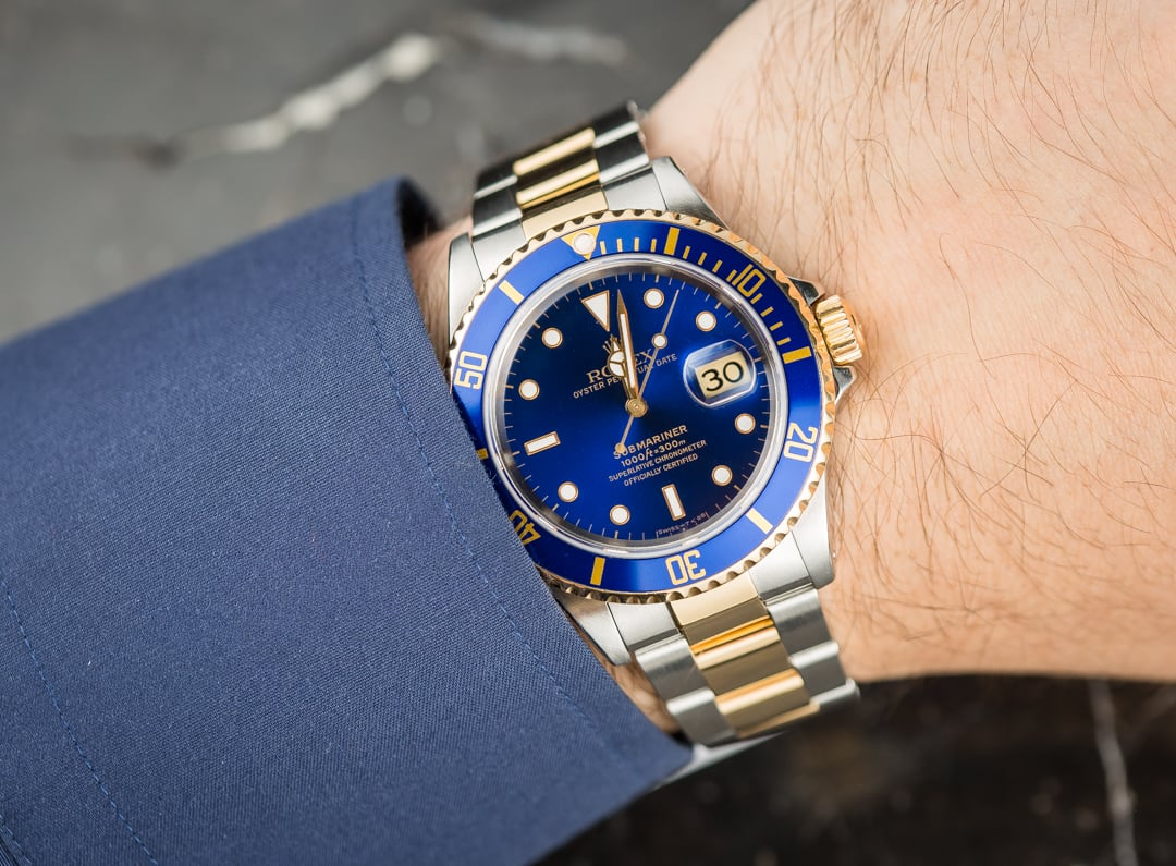 Rolex two tone submariner 16613 blue bezel for Submariner rolex blue
