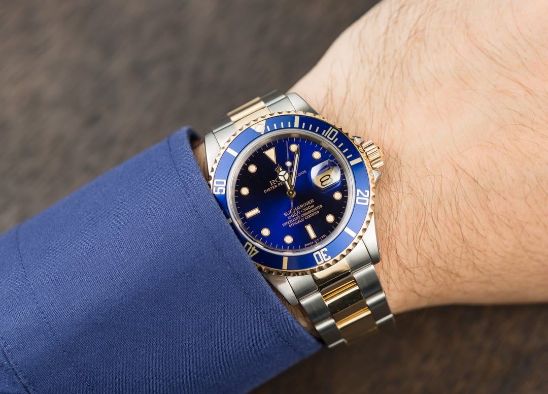 Rolex steel and gold submariner 16613 blue for Submariner rolex blue