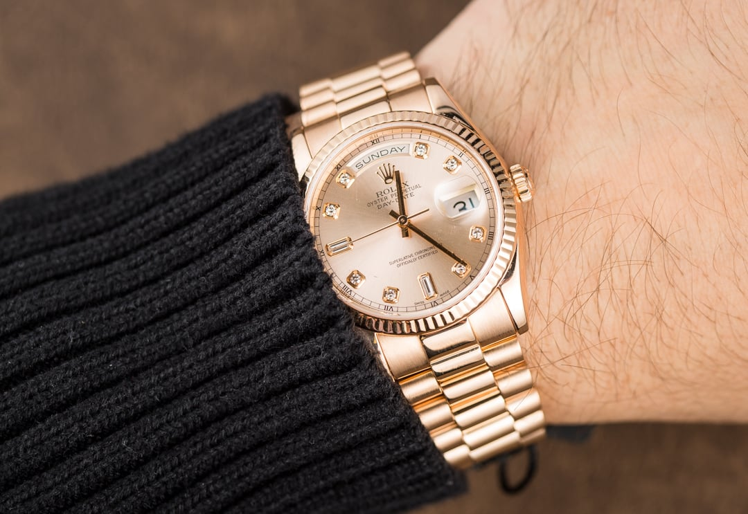 Gold Rolex Watch On Wrist