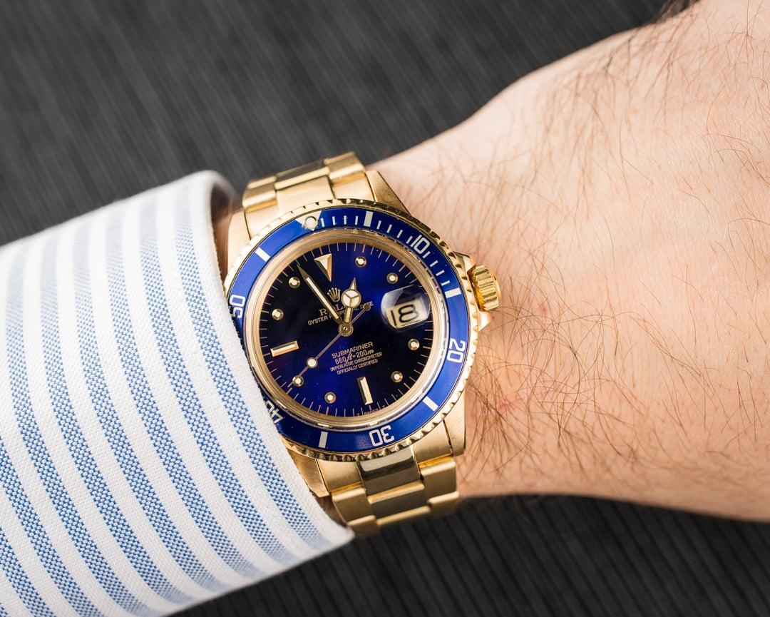 Rolex Vintage Gold Submariner 1680 Blue