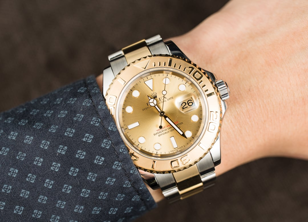 rolex preowned yachtmaster 16623 twotone