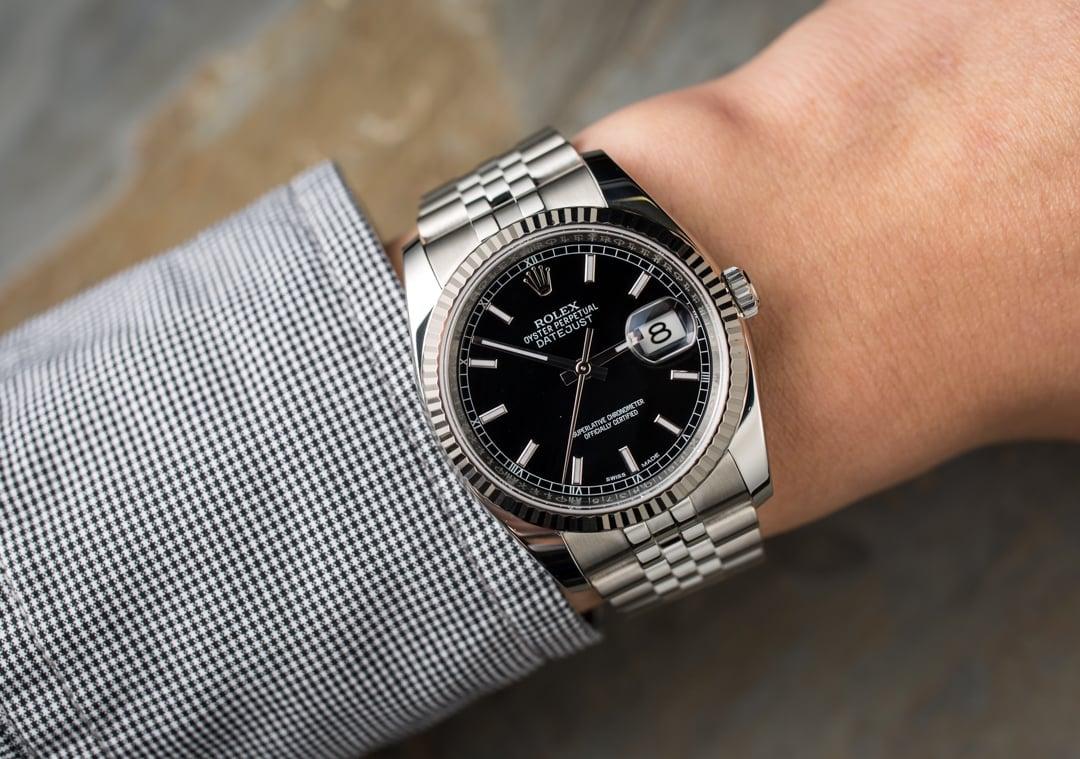 Rolex Datejust Black 116234 White Gold Bezel