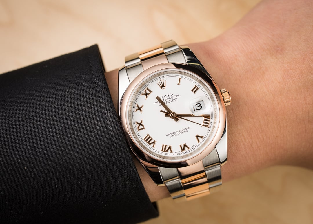 rolex datejust 116201 two tone rose gold