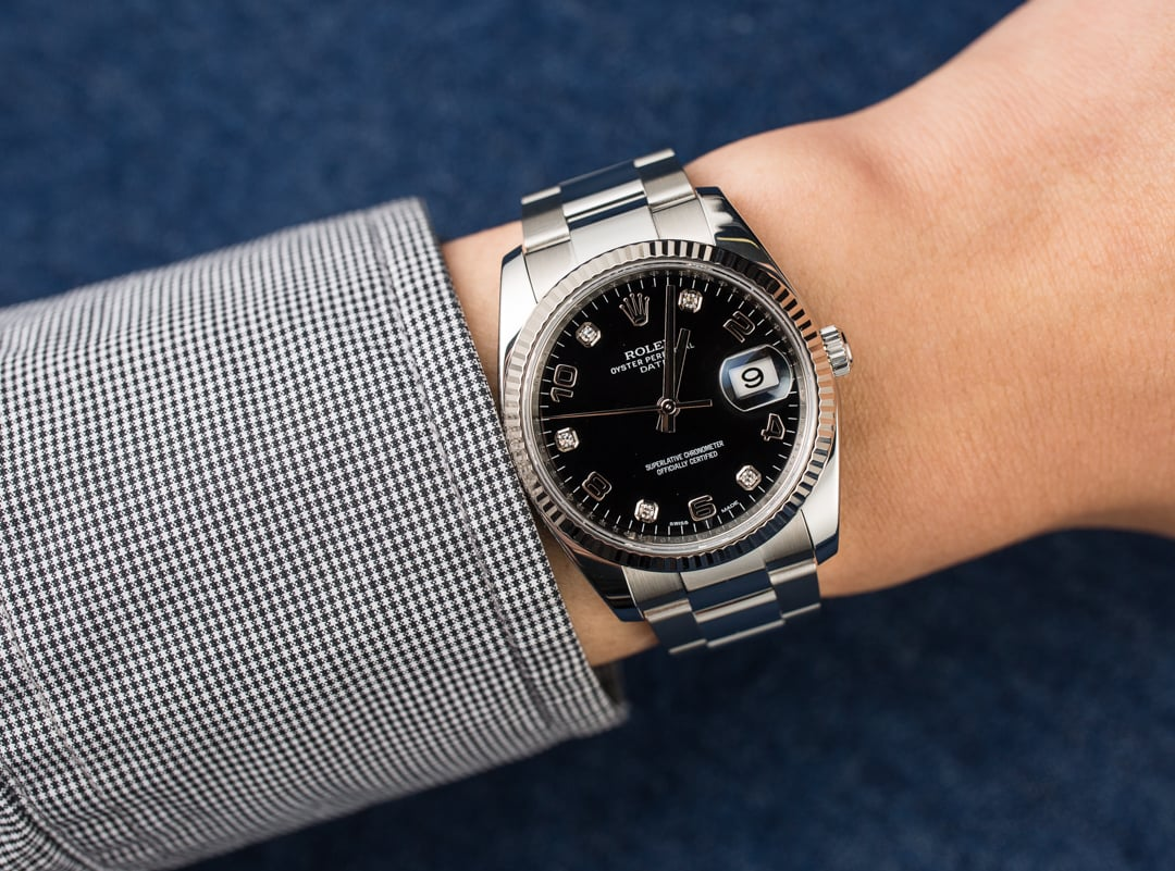 Image result for Rolex Oyster Perpetual Date ref. 115234 with diamond dial