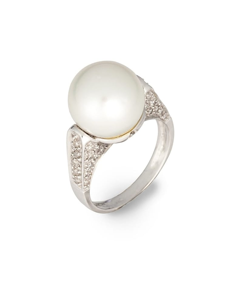 Ladies 14K White Gold Diamond and Pearl Estate Ring