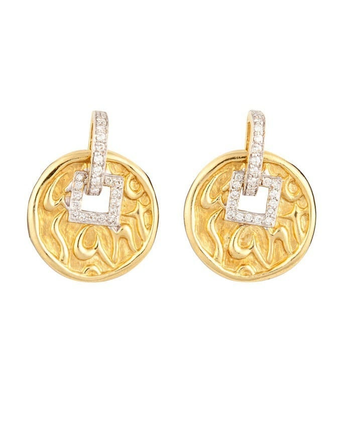 SG 18K Yellow Gold Love, Health, Happiness Earrings