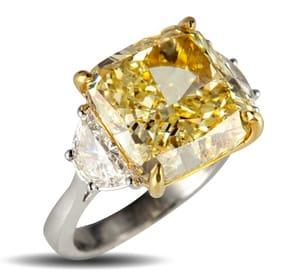 4.28 Carat Rectangular Brilliant Diamond Ring