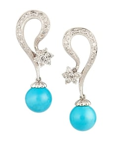 Ladies 18k White Gold and Turquoise Estate Earrings